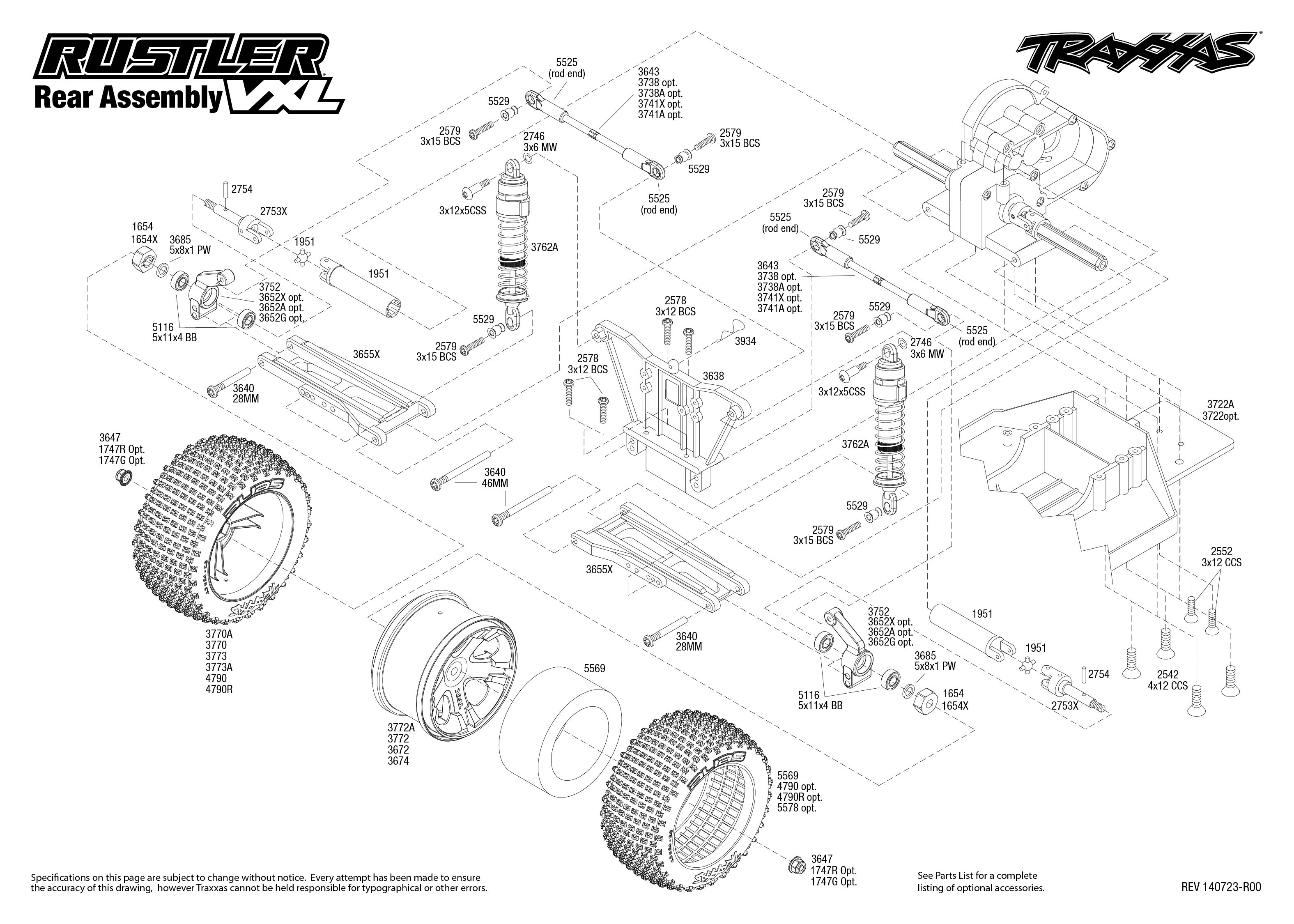 Rustler Vxl 1 Rear Assembly Exploded View