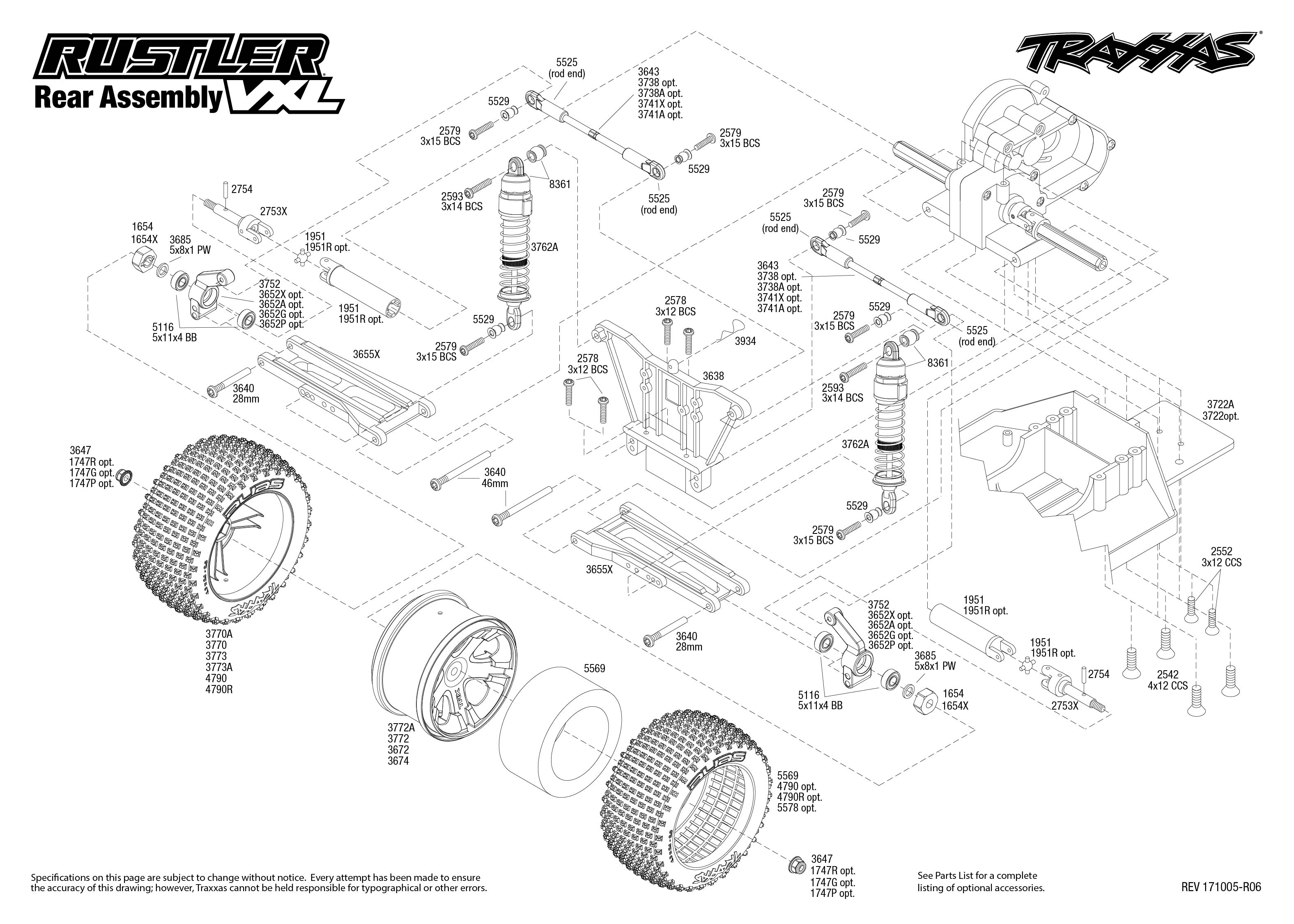 Rustler Vxl 3 Rear Assembly Exploded View