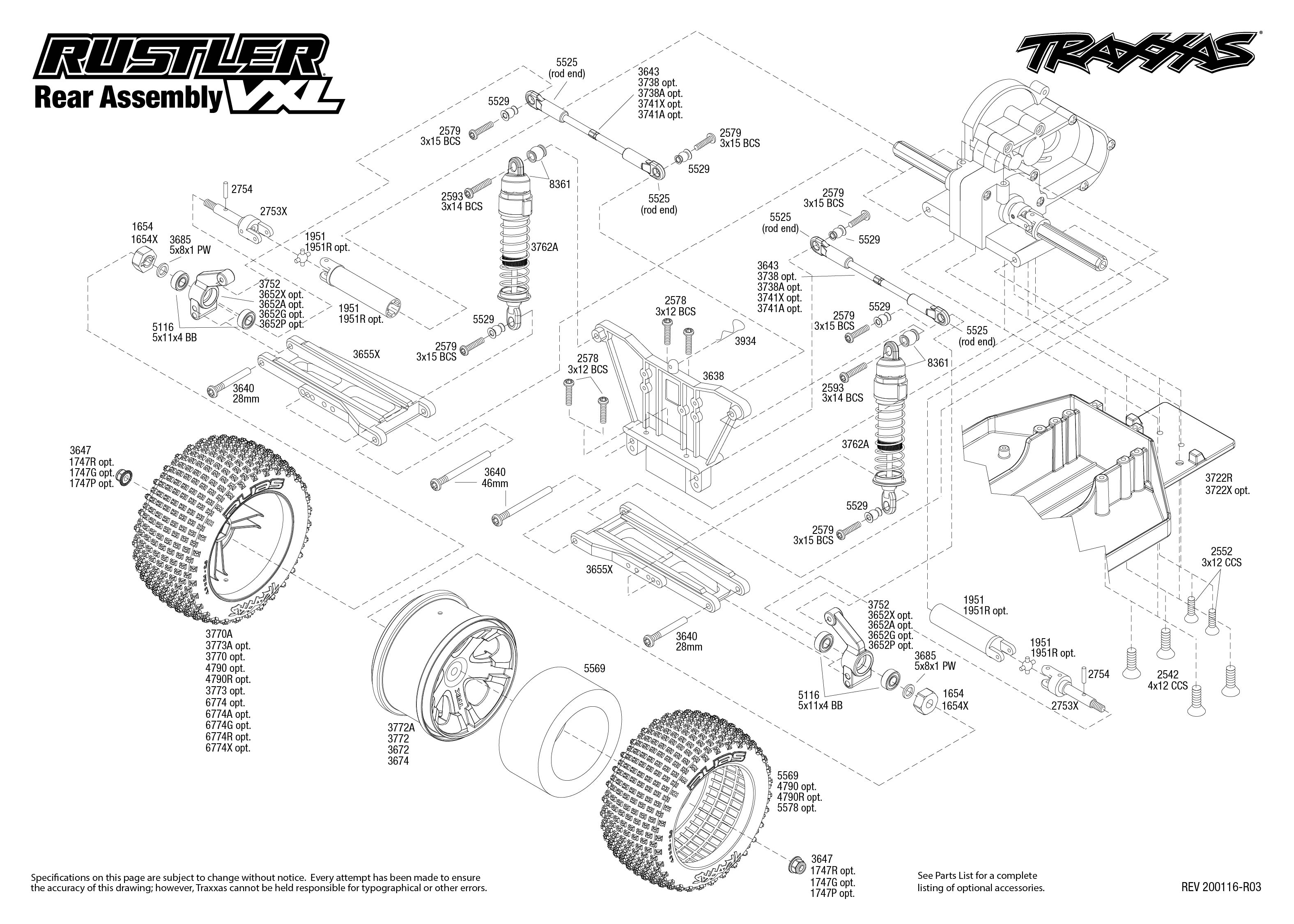Rustler Vxl 4 Rear Assembly Exploded View