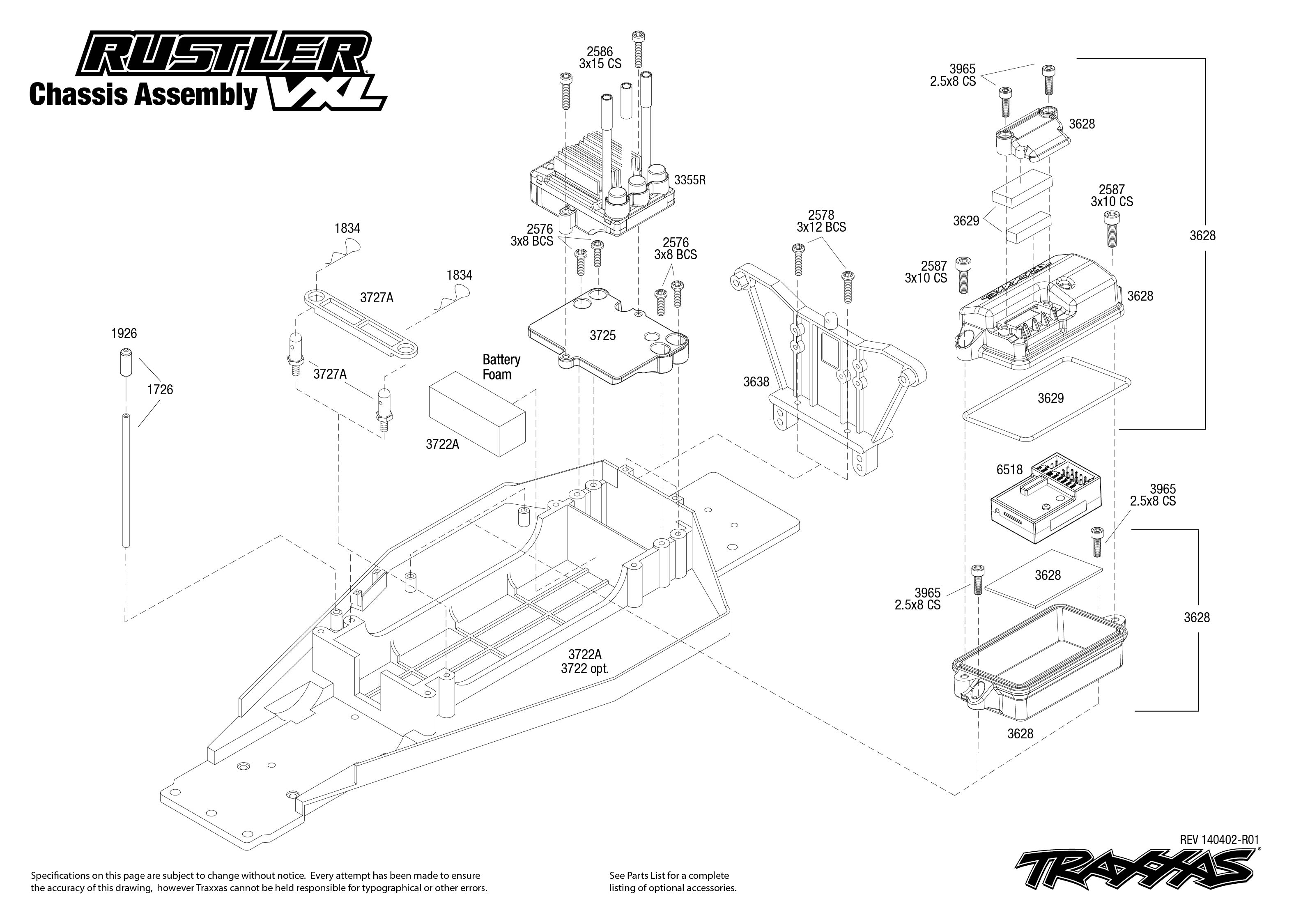 Rustler Vxl Chassis Assembly