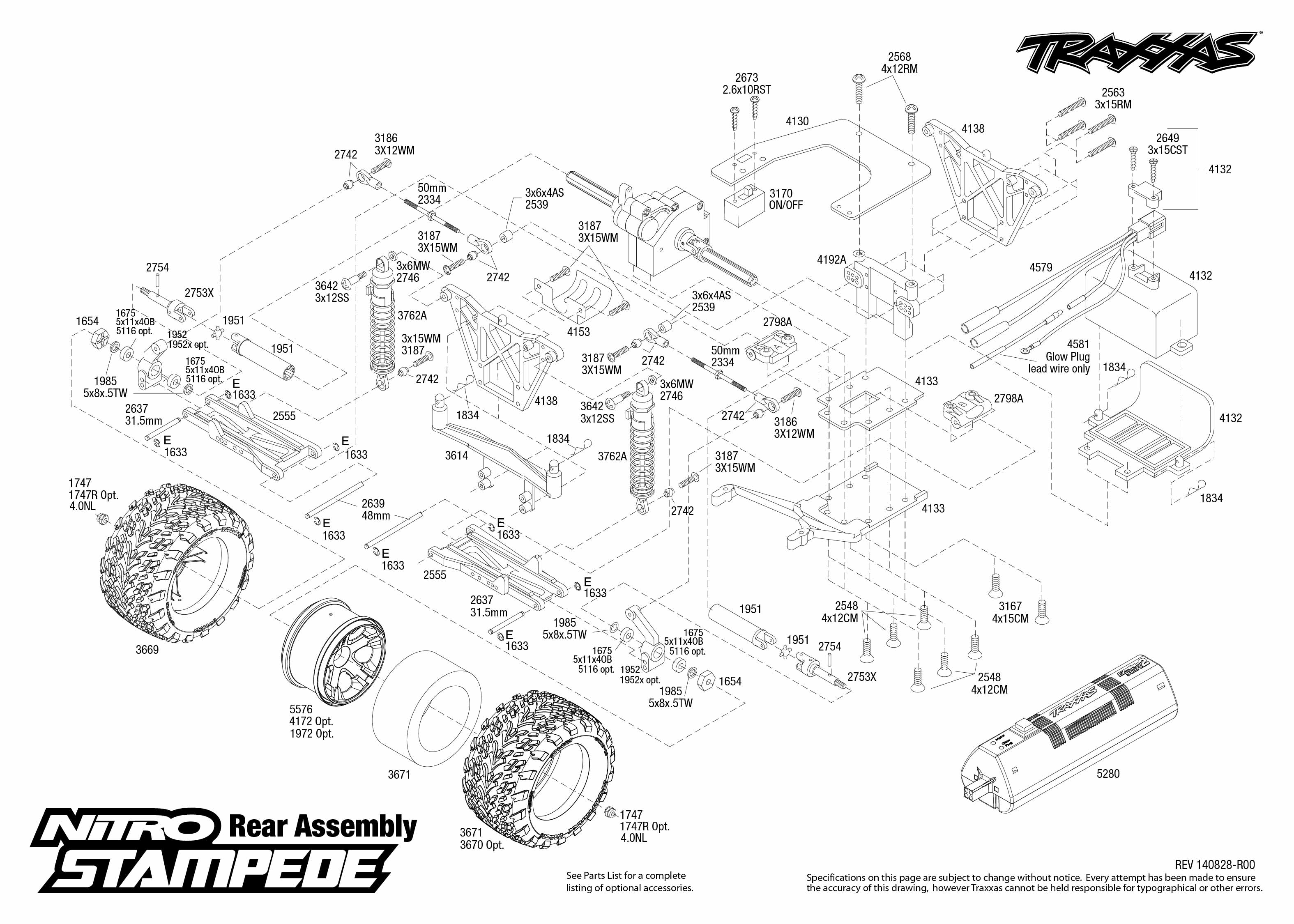 Nitro Stampede 1 Rear Assembly Exploded View