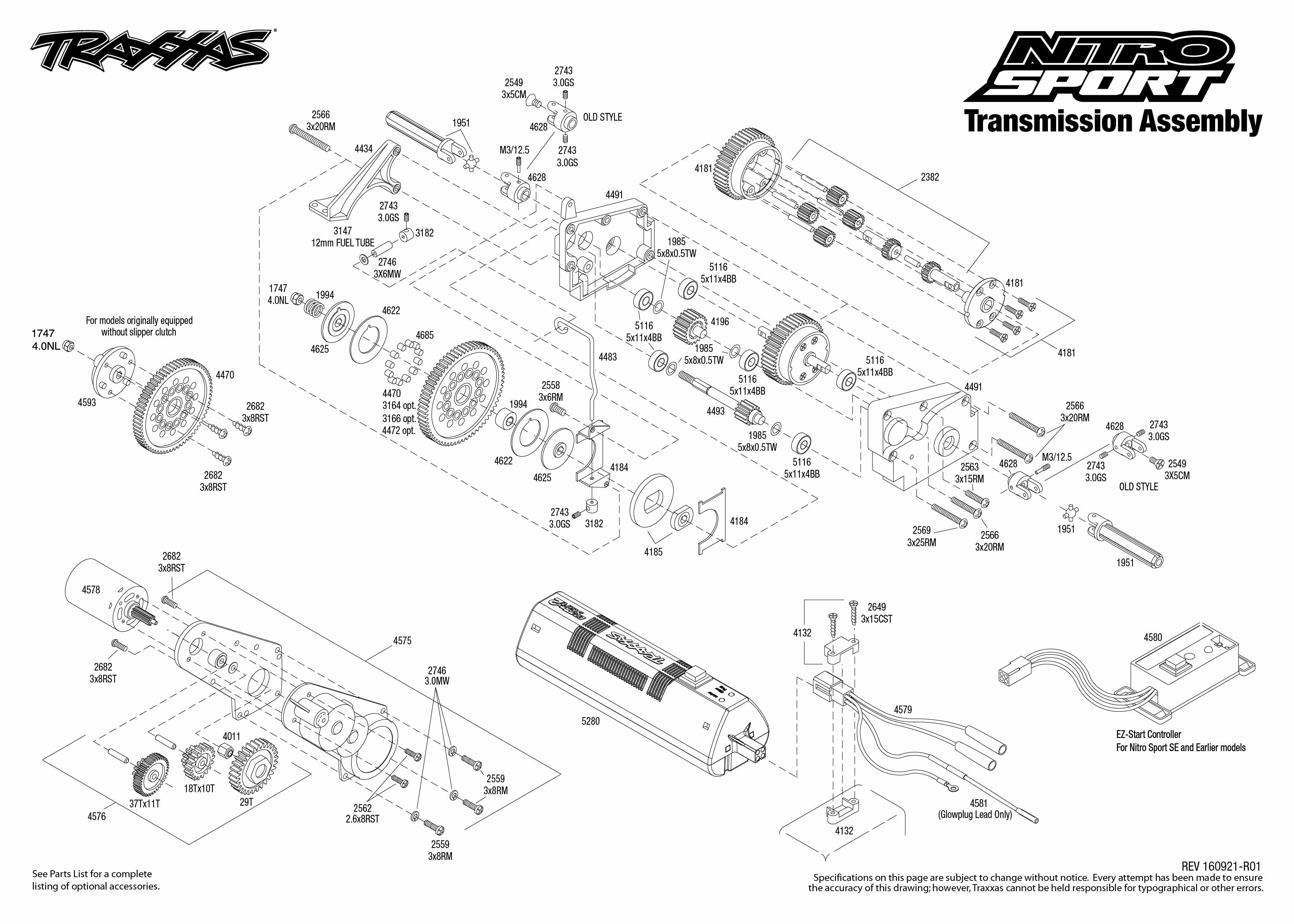 Nitro Sport 1 Transmission Assembly Exploded View