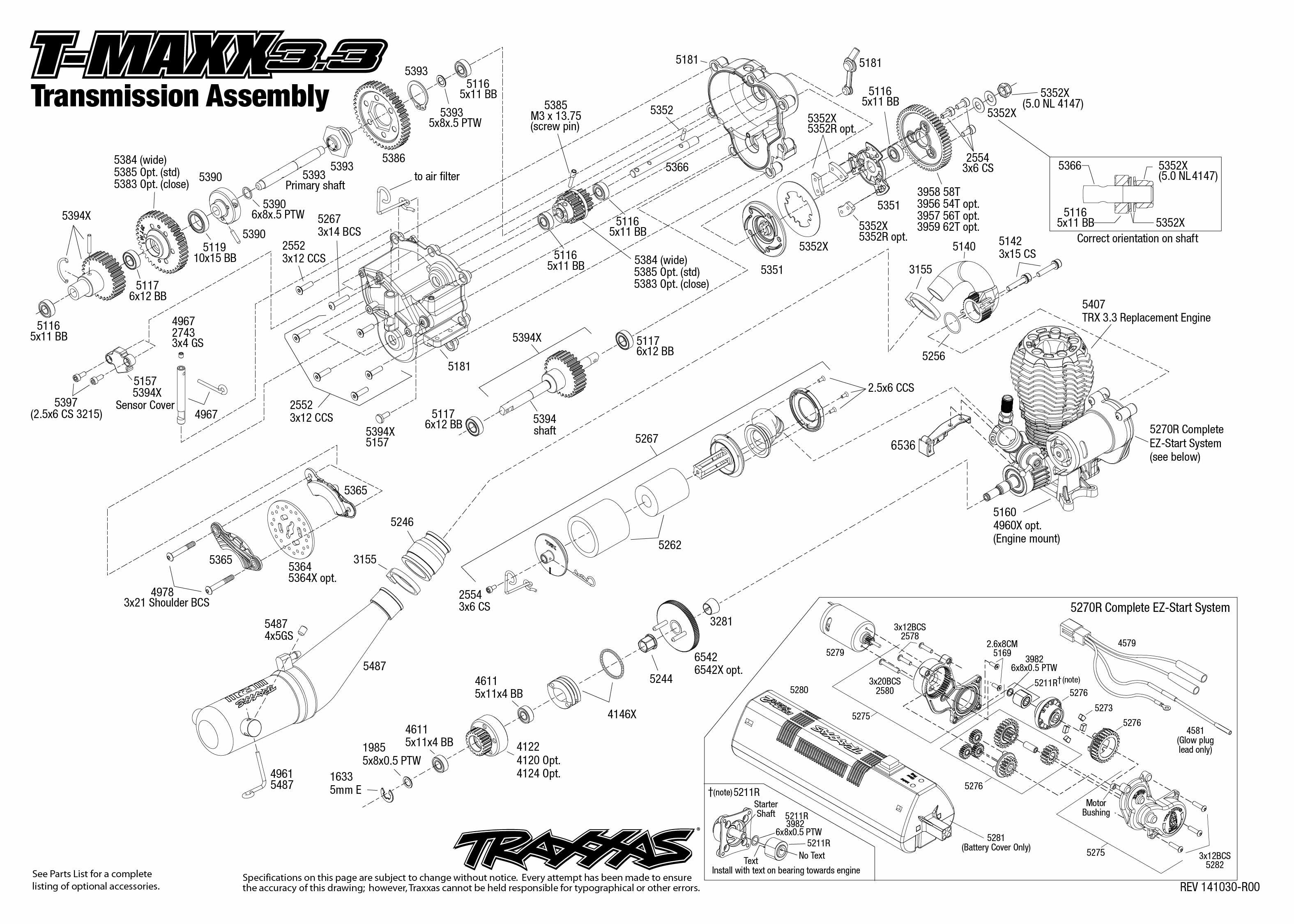 T Maxx 3 3 1 Transmission Assembly Exploded View