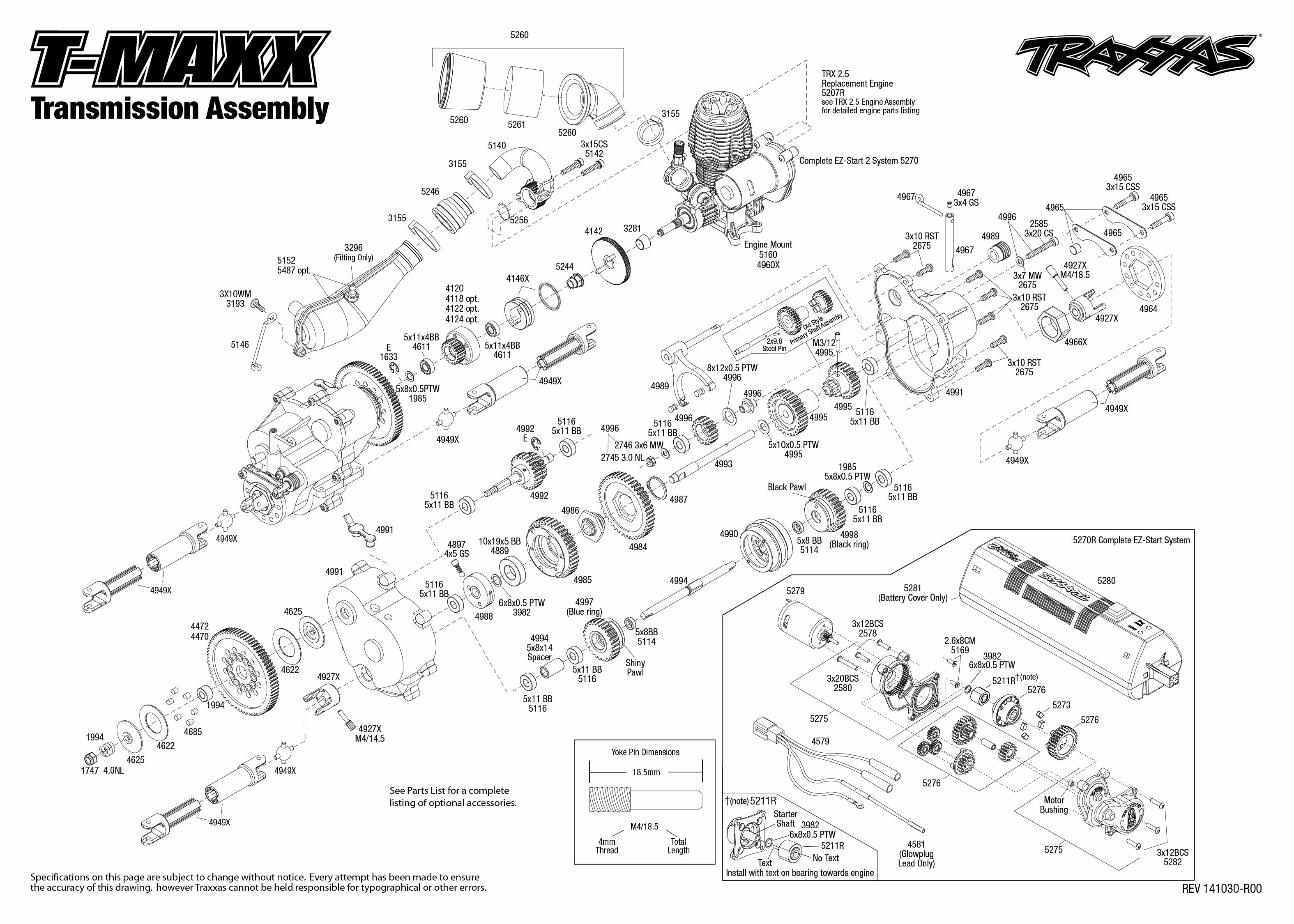 T Maxx 1 Transmission Assembly Exploded View