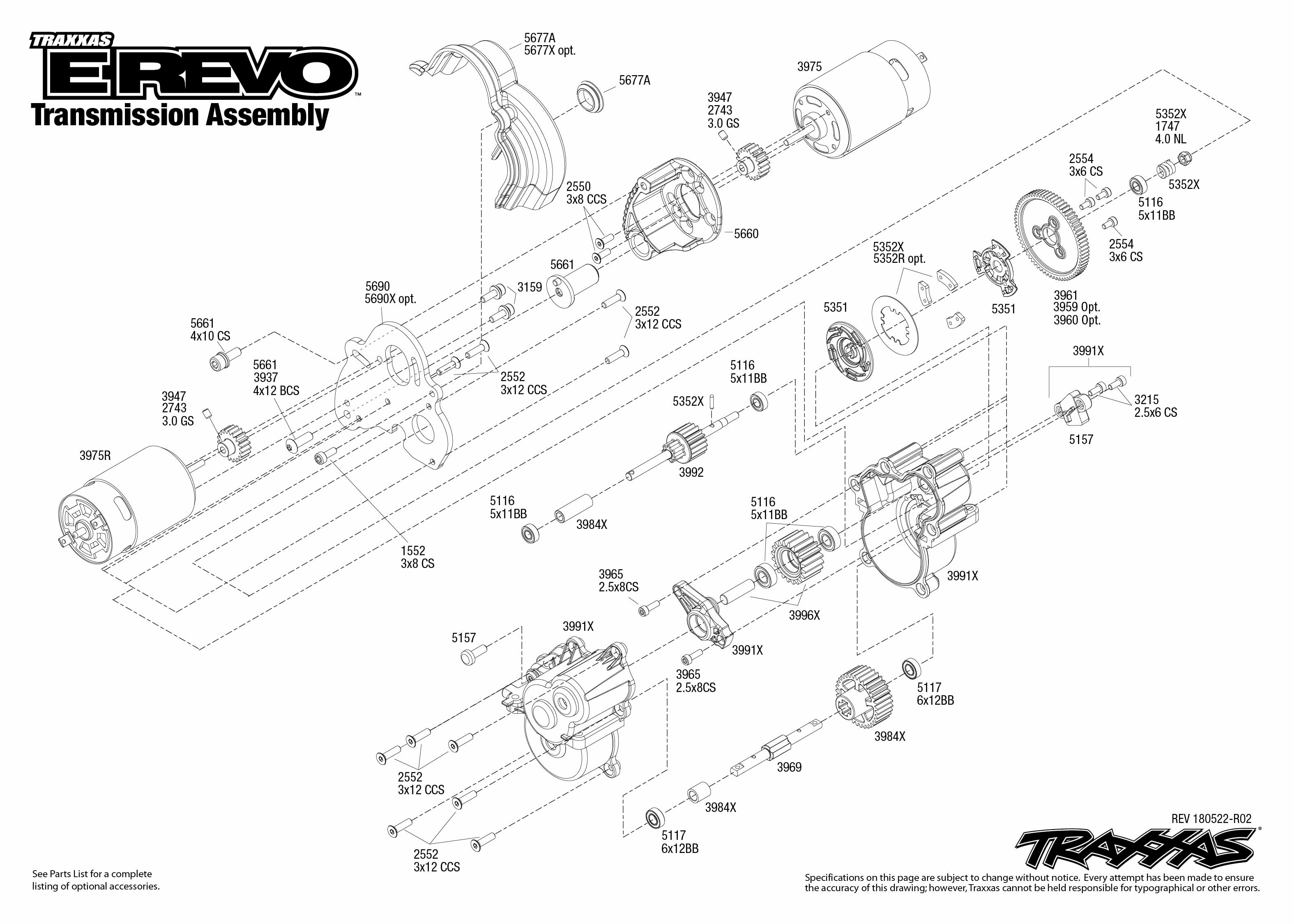 E Revo 1 Transmission Assembly Exploded View