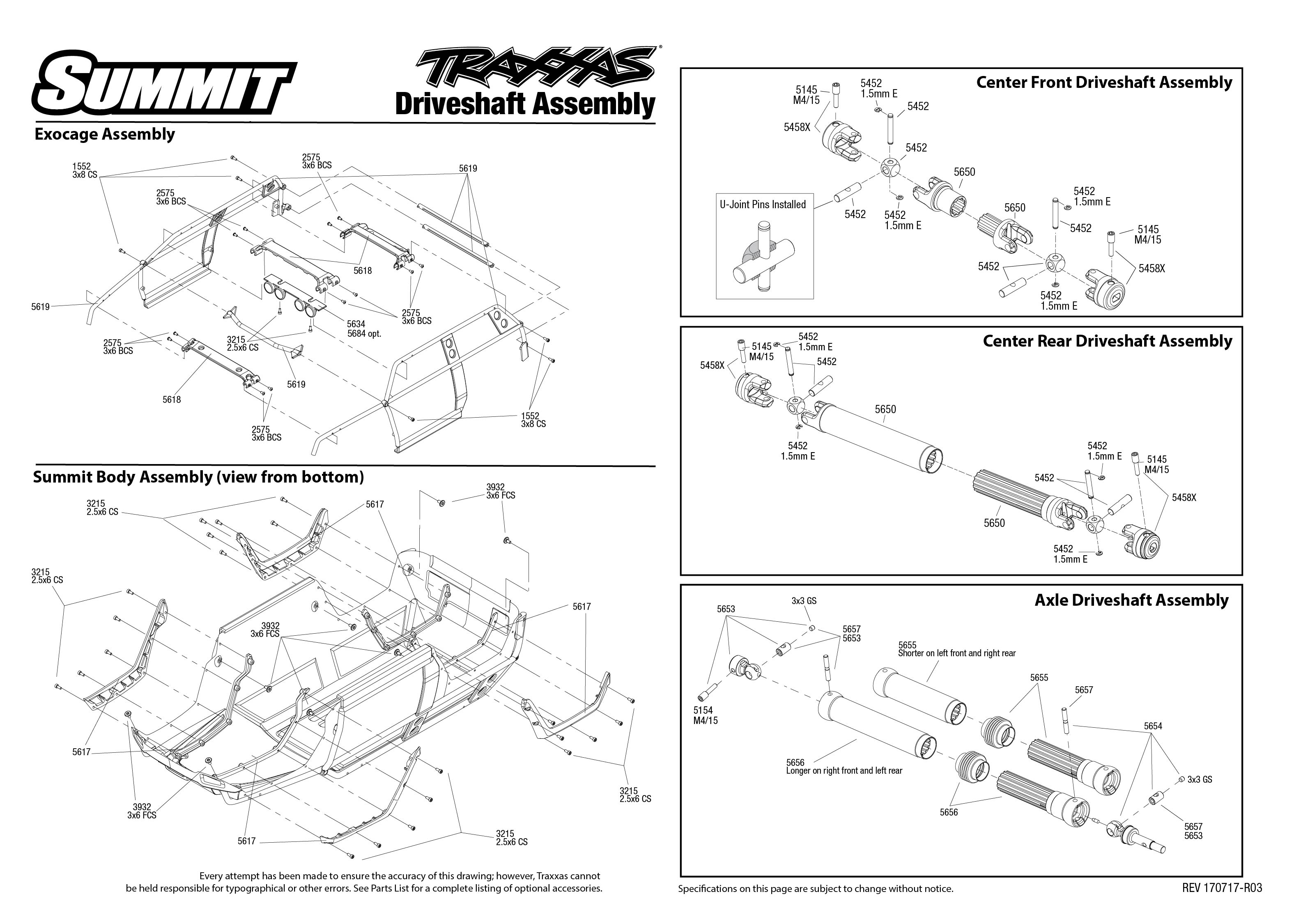 Summit 1 Driveshaft Assembly Exploded View