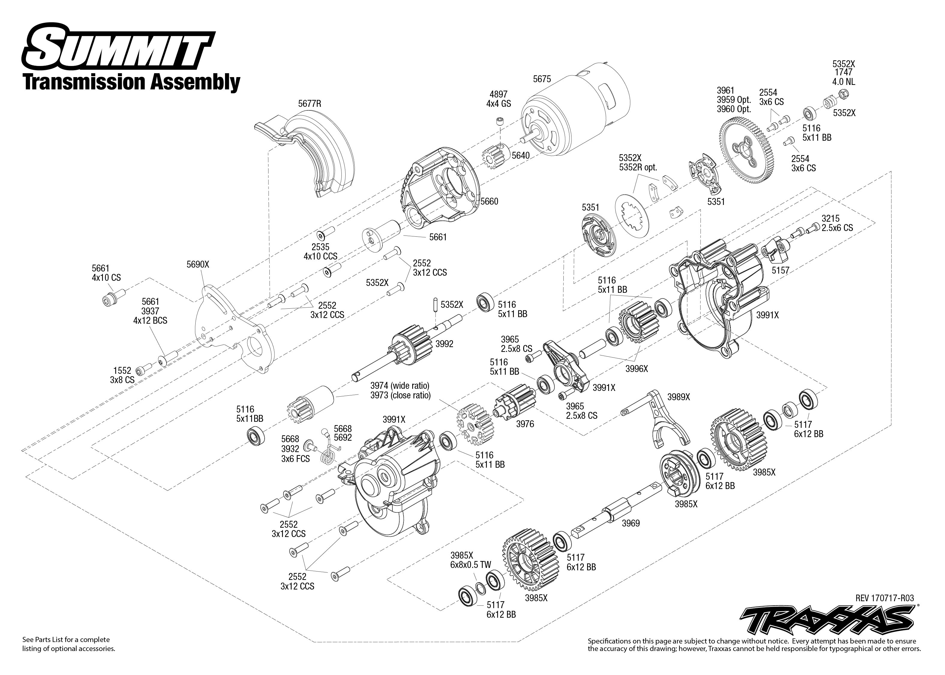 Summit 1 Transmission Assembly Exploded View