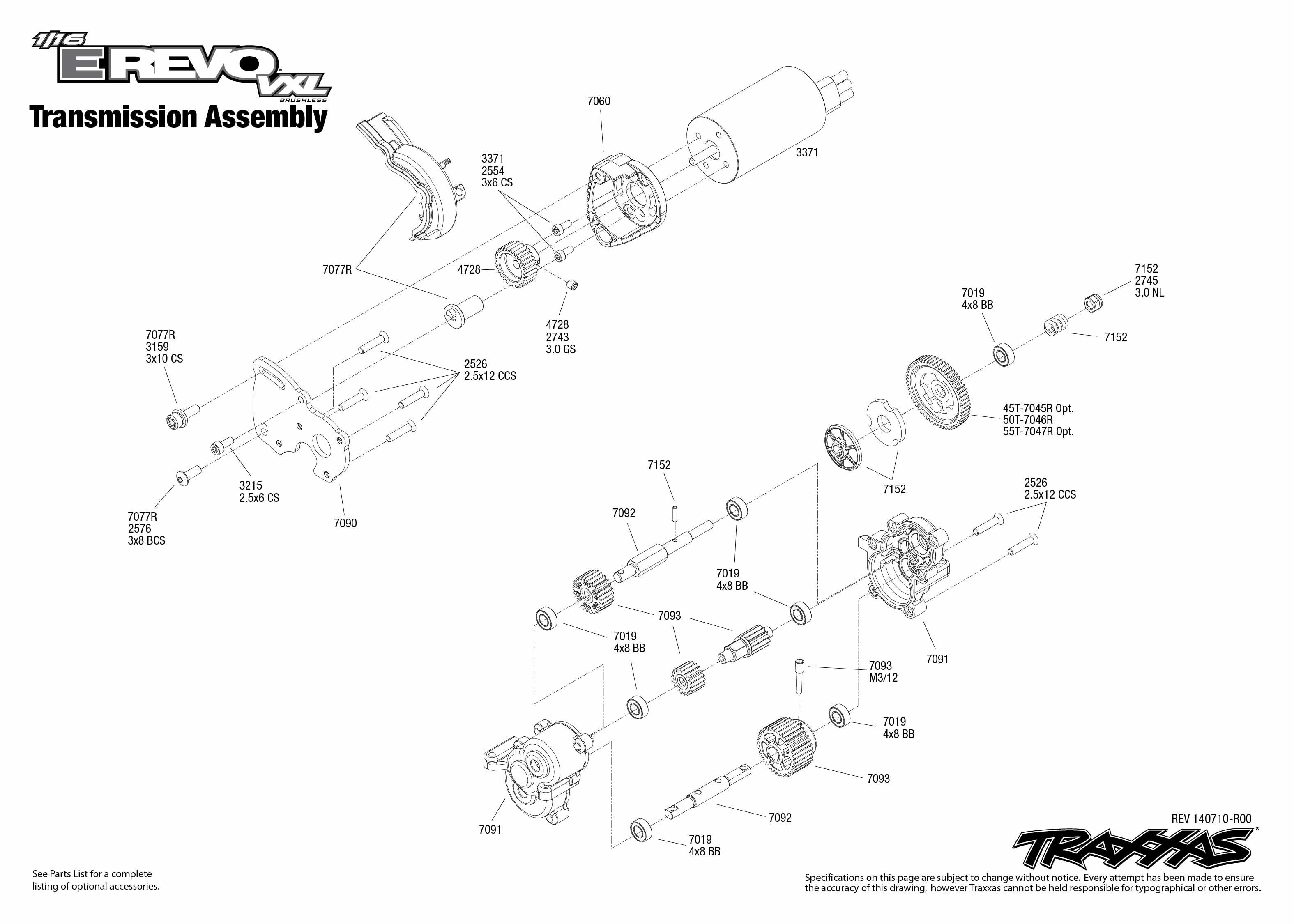 1 16 E Revo Vxl 1 Transmission Assembly Exploded