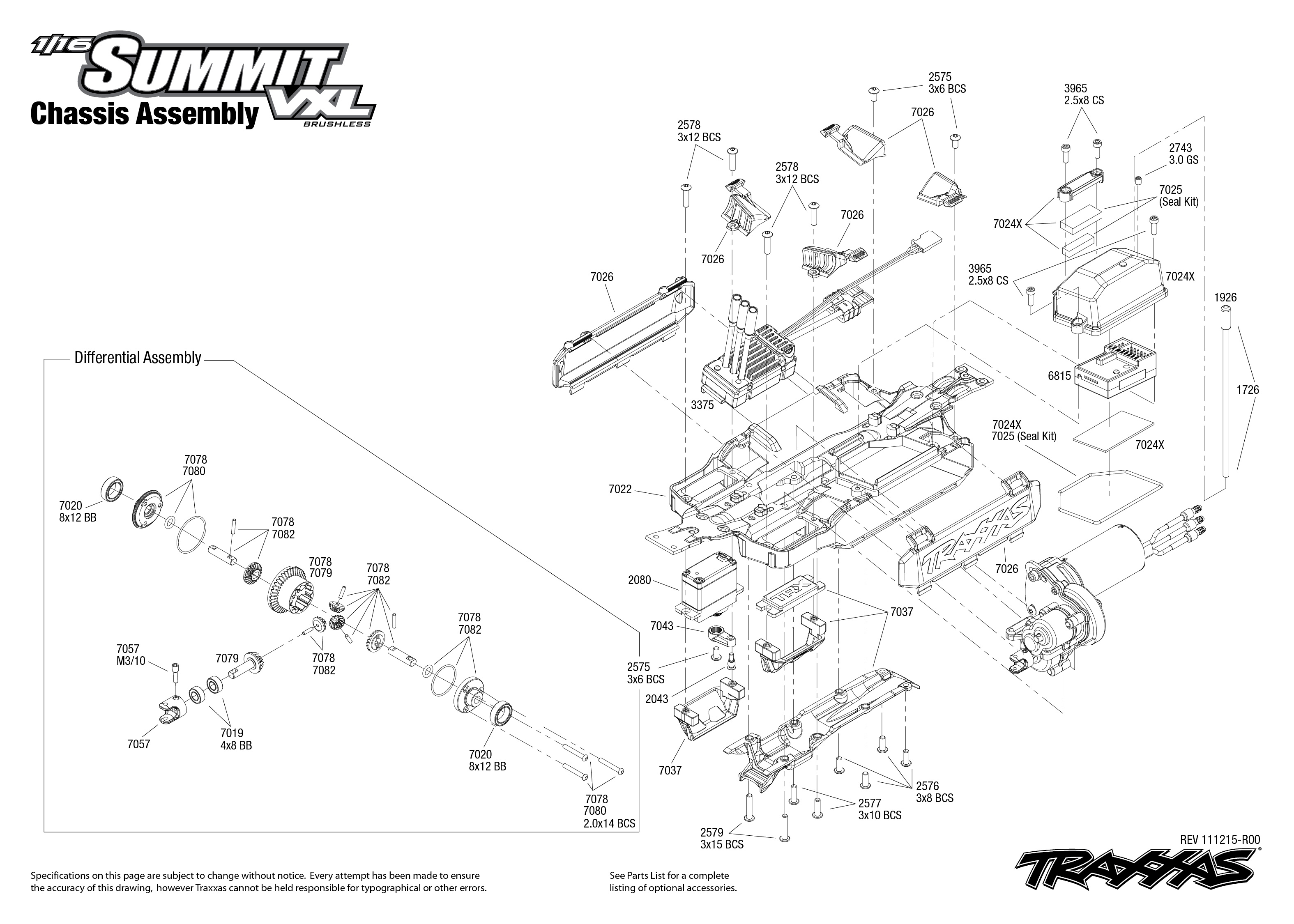 Chassis Exploded View 1 16 Summit With Tqi 2 4ghz