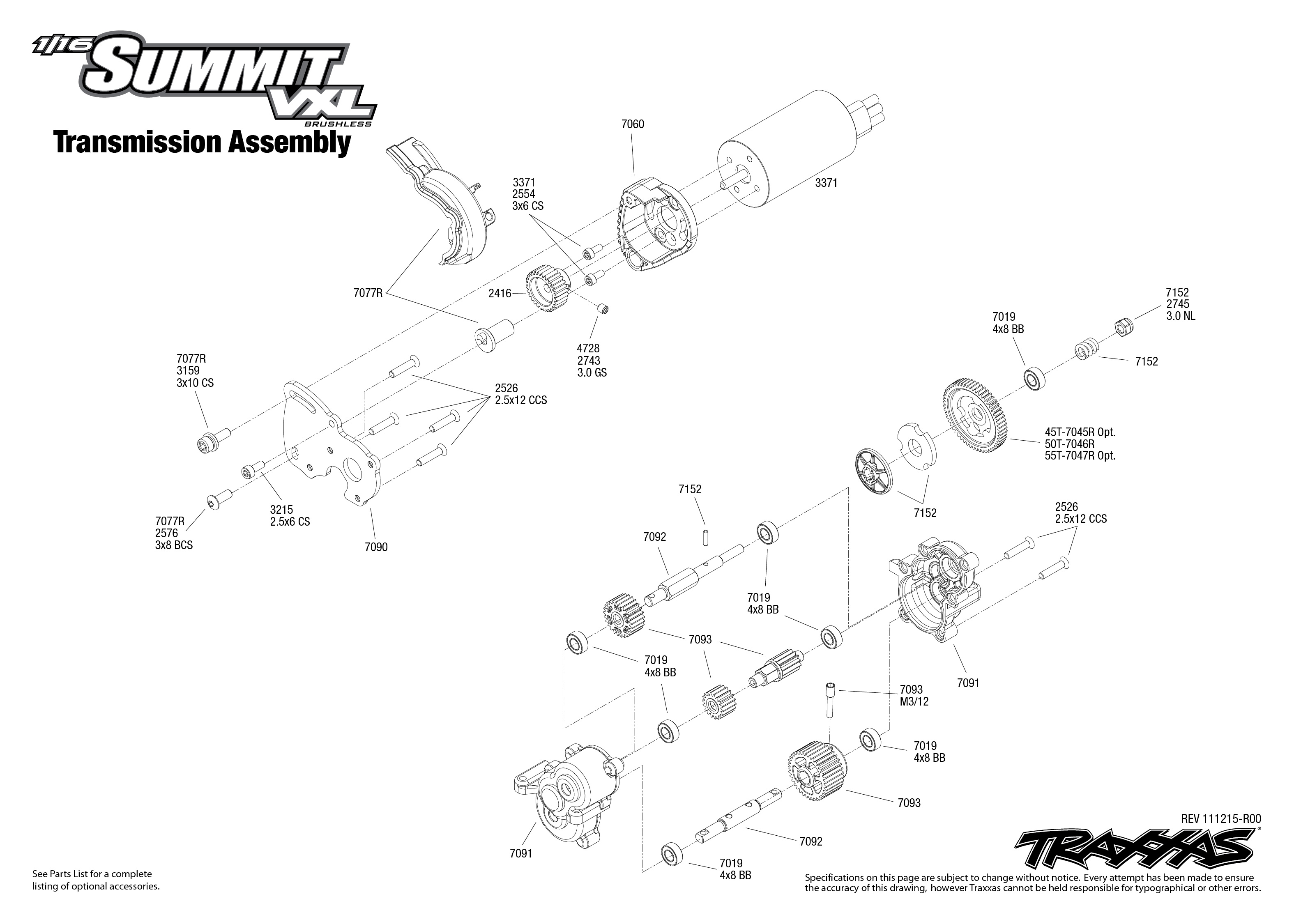 Transmission Exploded View 1 16 Summit With Tqi 2 4ghz Radio