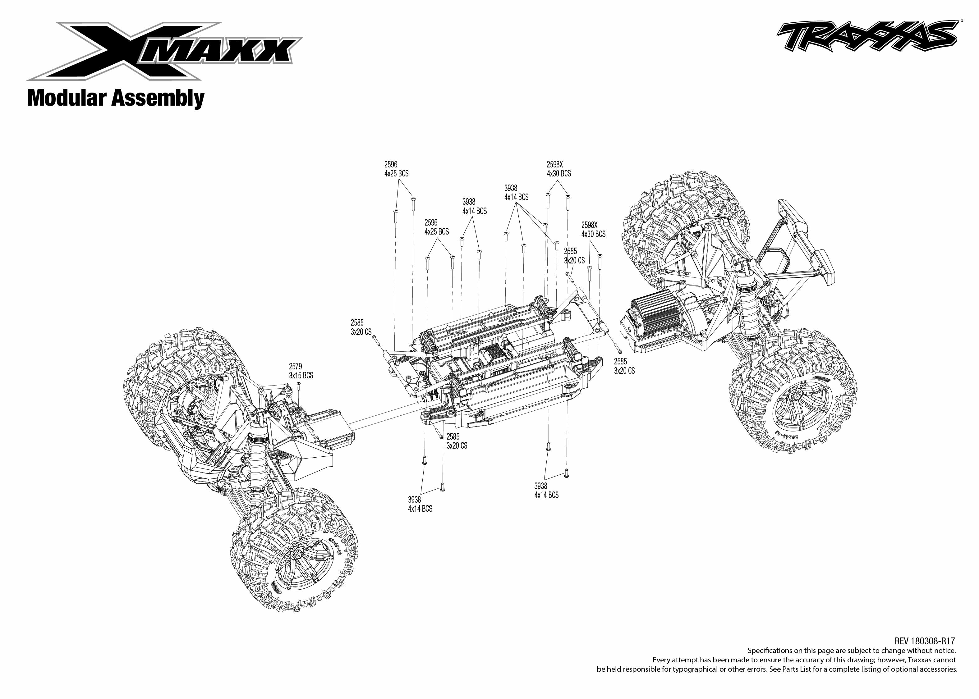 X Maxx 4 Modular Assembly Exploded View