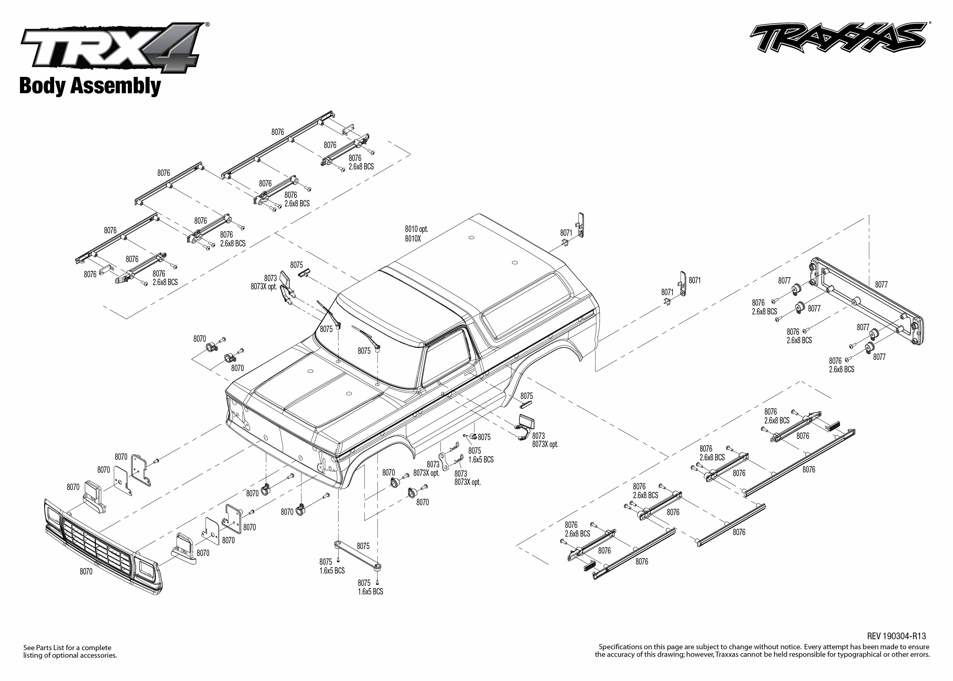 Trx 4 Ford Bronco 4 Body Assembly Exploded View