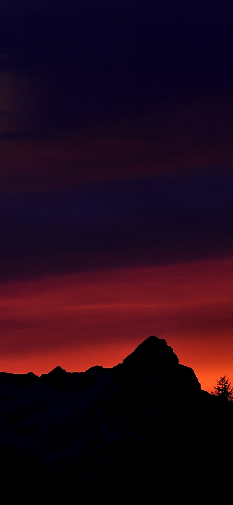 Afterglow Black and Red Amoled Sunset Wallpaper Android