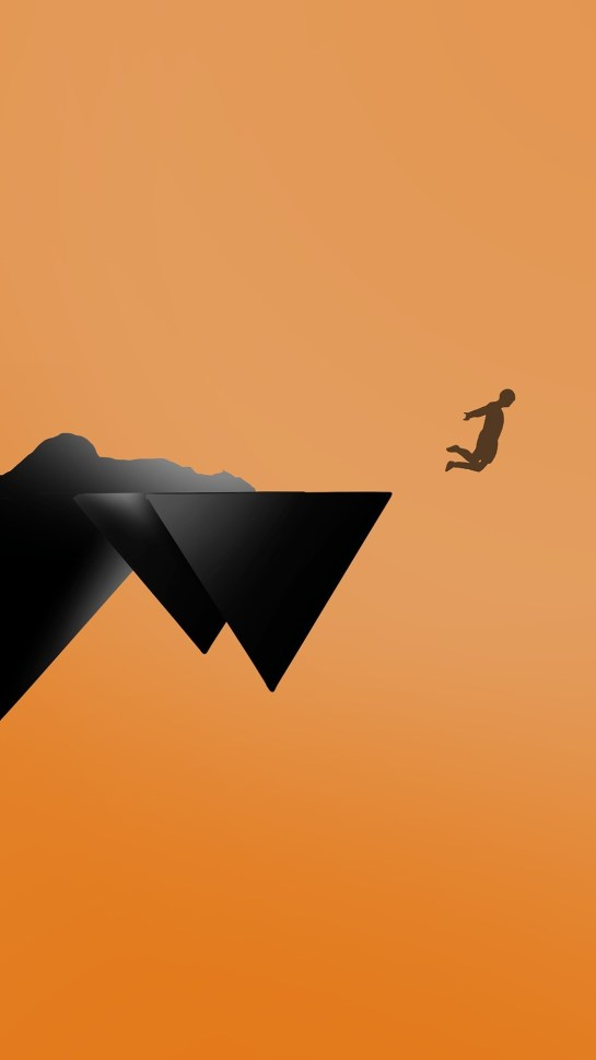 Jump From Mountain Minimal iPhone Wallpaper HD
