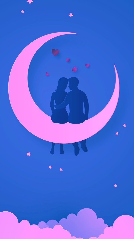 Romantic Couples Love Illustration Moon HD iPhone Wallpapers Download