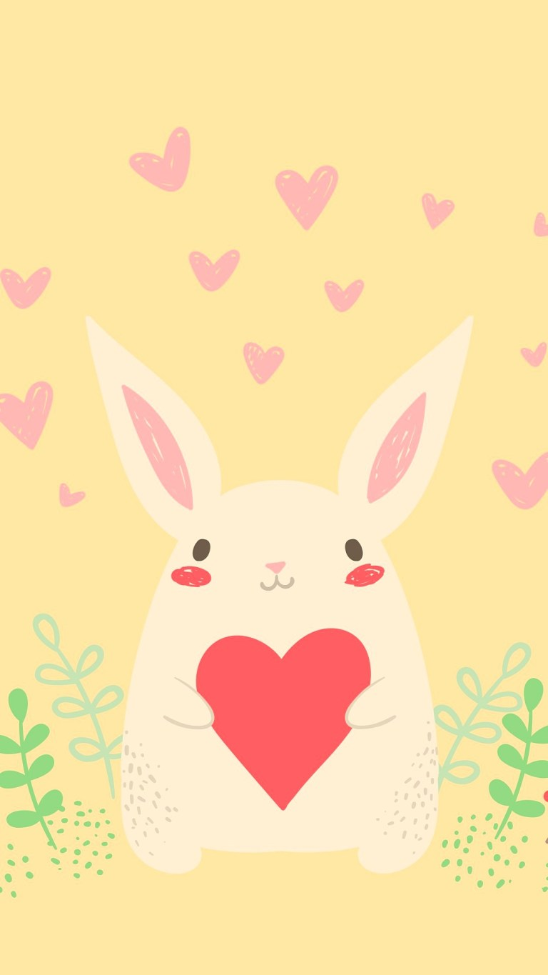 Valentines Day Bunny With Heart Wallpaper