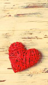 Red Heart in Wood Beautiful HD 1080p iPhone Wallpapers
