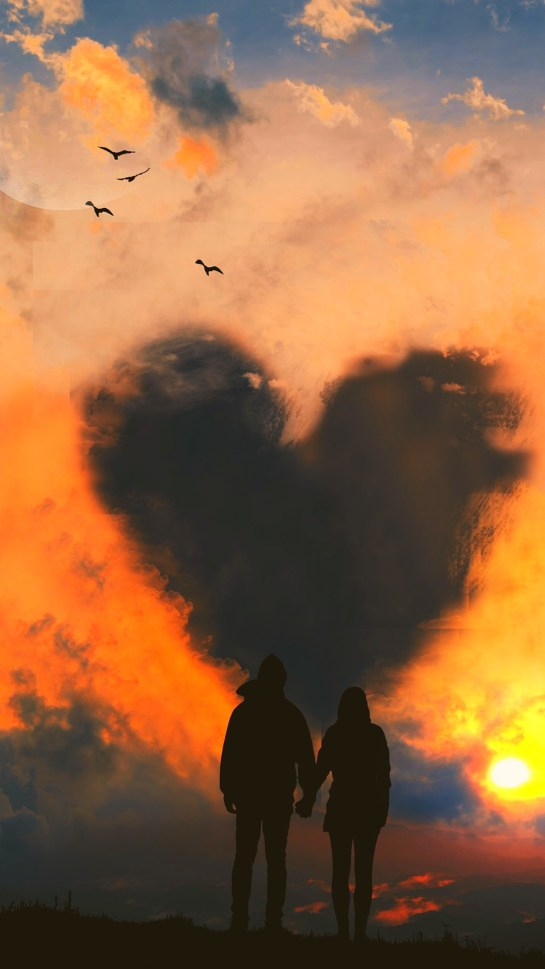 Sky Of Love Couple in Cloud iPhone 12 UHD 4K Wallpapers