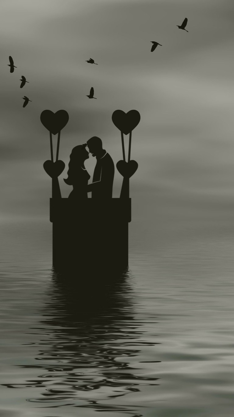 Romance Love Silhouette Monochrome Android HD Wallpapers Download