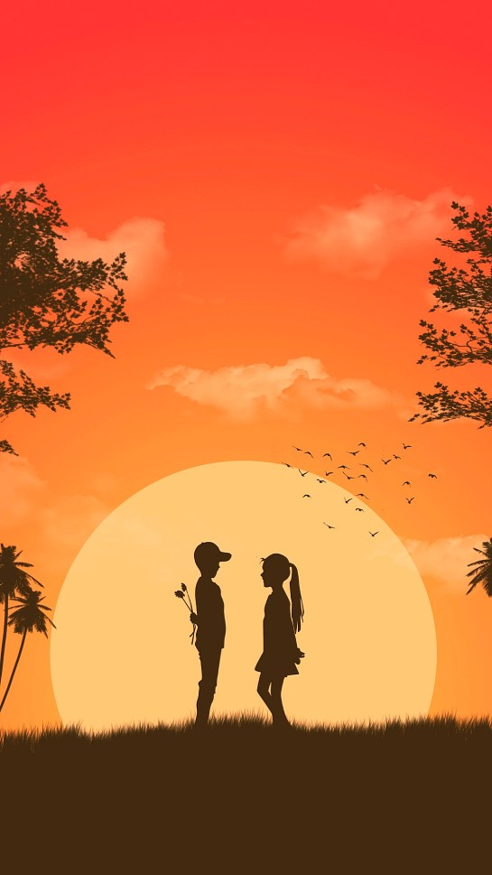 Boy And Girl Love in Nature Night HD 1080p Wallpapers