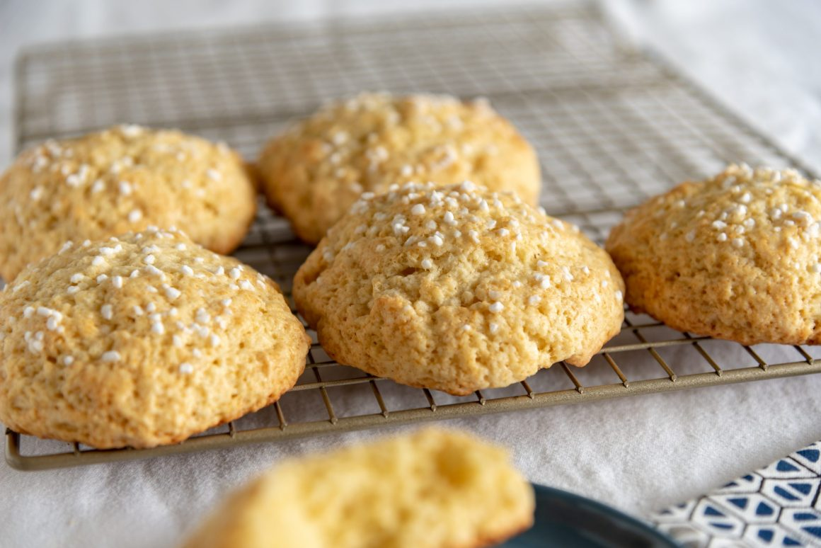Plain, sweet, scone-like cakes topped with pearl sugar