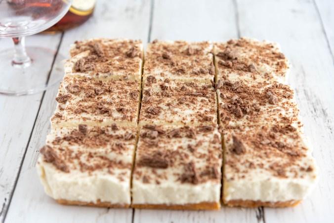 Chocolate shavings on top of a creamy, Brandy Alexander Dessert