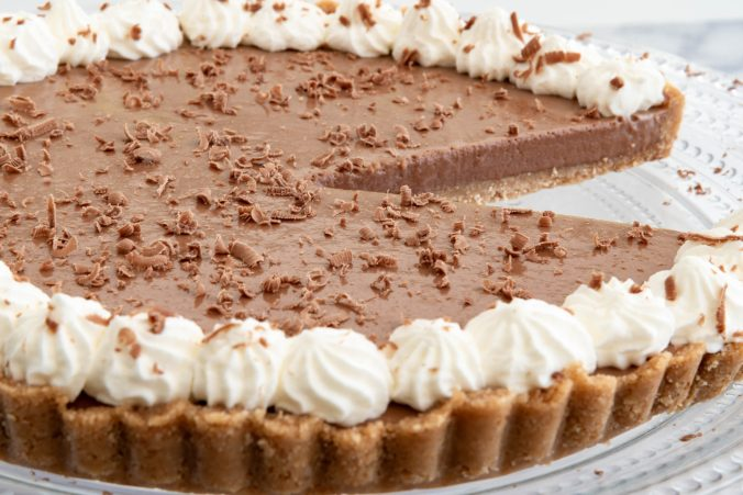 Chocolate pie topped with whipped cream