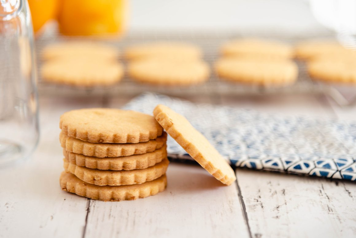 A tack of orange almond cookies