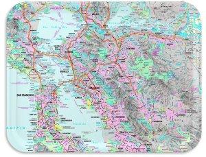 San Francisco Bay Area Street Map TV tray