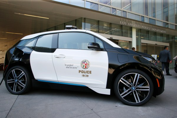 os Angeles City Mayor Eric Garcetti and Los Angeles Police Department Chief Charlie Beck announce a year long test of a BMW i3 electric vehicle at a City of Los Angele