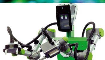 """Der """"Care-O-bot"""" begrüßt beim Elektronik-Einzelhändler Kunden."""
