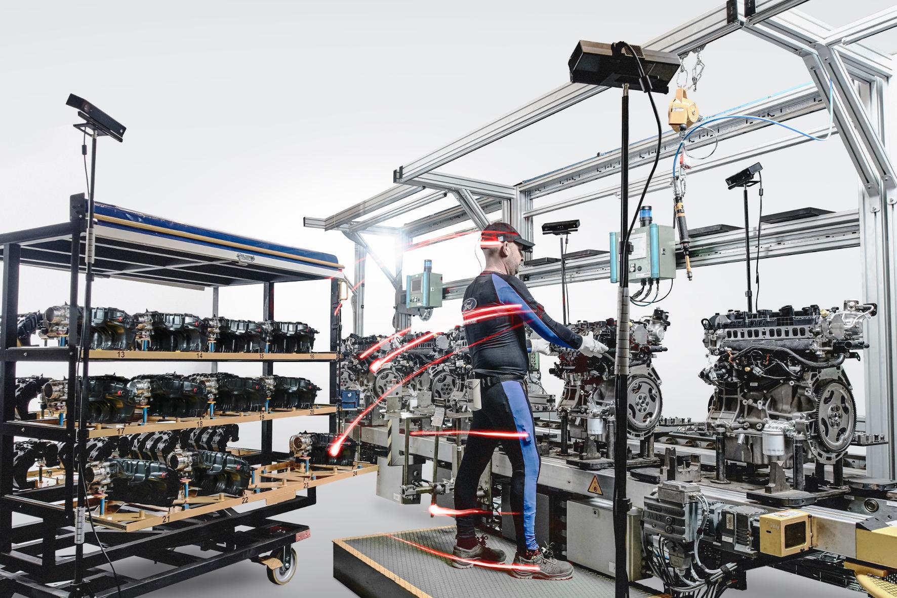 Im Daten sammelnden Hightech-Anzug Autos bauen