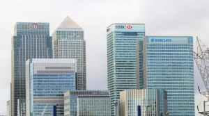 Banktürme von Citi, HSBC, Barclays von vorne.