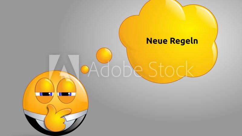 Neue Regeln. Emoji mit Sprechblase und Text.