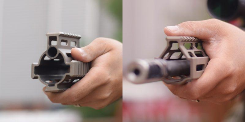 Picatinny (à gauche) vs M-LOK (à droite) sur SCAR : l'image est parlante (Images TFB assemblées).