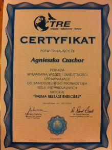 Agnieszka - certyfikat