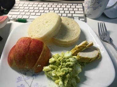 Bread, apples, avocado egg salad paired with turmeric chicken