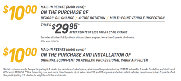 rebate offer for tires and oil
