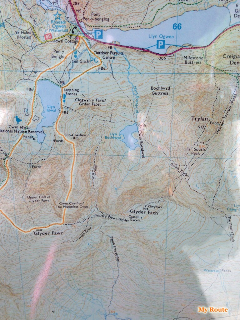 You can see I've highlighted my route from the bunkhouse to the mountain (Bunkhouse host Gwyn gave me a lift to Idwal Cottage, at the base of the mountains at Llyn Idwal and the Cwm Idwal National Nature Reserve) as well as the route I ended taking around the lake and through Cwm Cneifion (The Nameless Cwm), up to the summit of the Glyderau mountain range. My original intent was to climb up Tryfan to the east, but things didn't turn out accordingly.