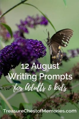 12 August writing prompts pinnable image