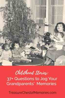 Jog Your Grandparents' Memories Graphic with a family by a Christmas tree