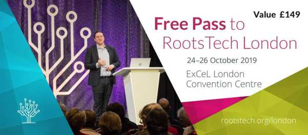 Mock up of a free pass to RootsTech London