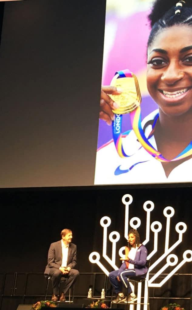 Paralympian Kadeena Cox with Steve Rockwood at Rootstech London 2019