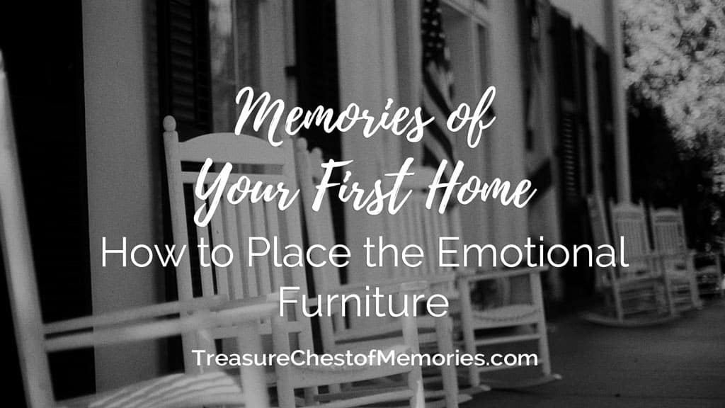 Memories of Your First Home Headline graphic with front porch rocking chairs