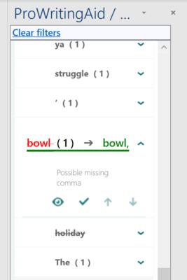 Screenshot of ProWritingAid Premium Suggestion Dialog
