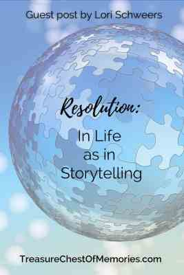 Resolution in Life as in Storytelling pinnable graphic