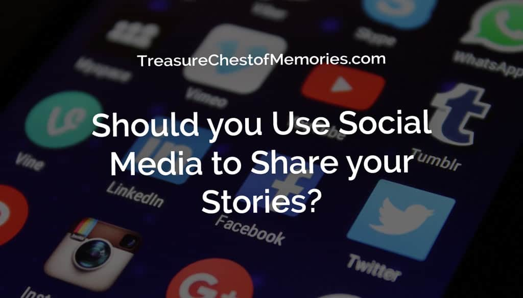 Should you use Social Media to share your stories hero graphic with social media icons on phone