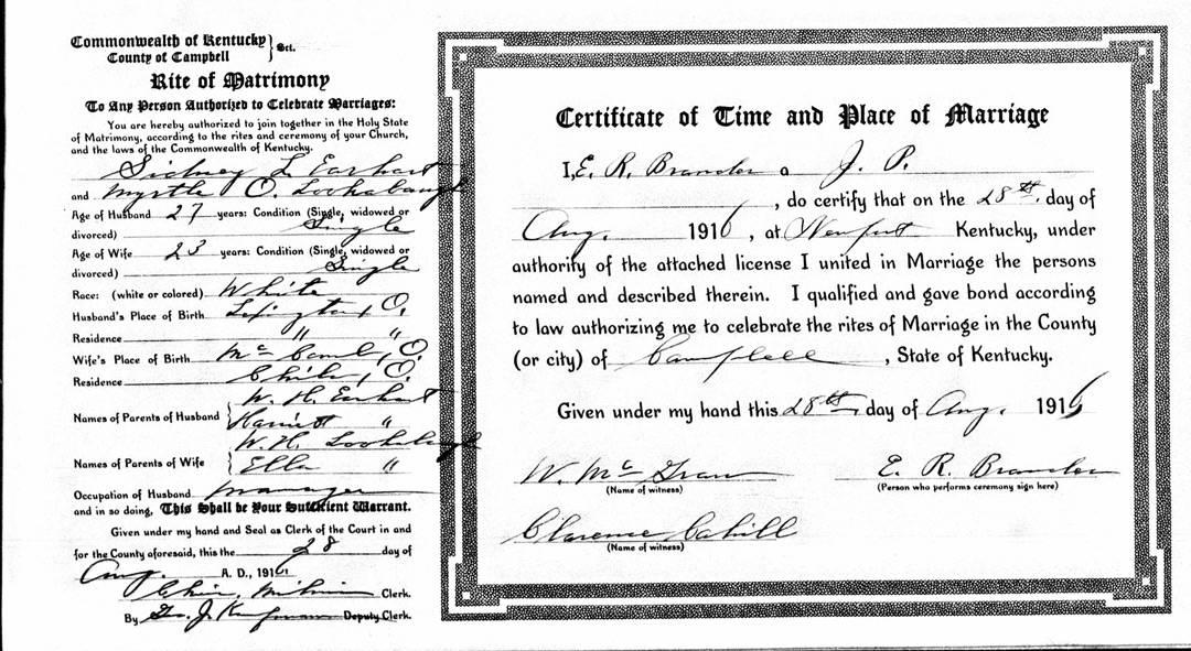 Kentucky Marriage Certificate Sid Earhart and Myrtle Lookaboug