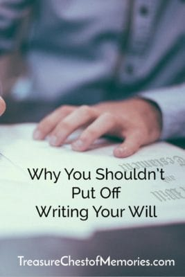 Man signing document underneath text of Why you shouldn't put off writing your will