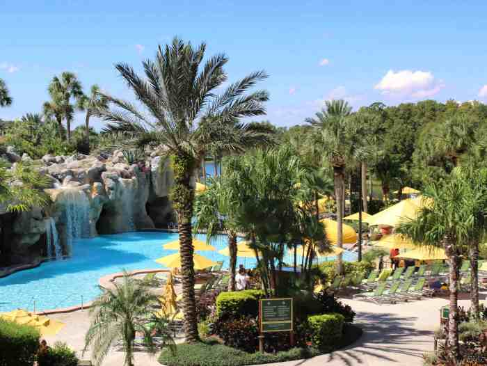 Pools, waterfalls and lounge chairs at the Hyatt Regency Grand Cypress resort